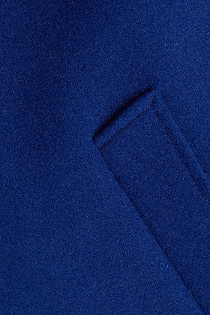Recycled: blazer coat in a wool blend, BRIGHT BLUE, detail image number 4