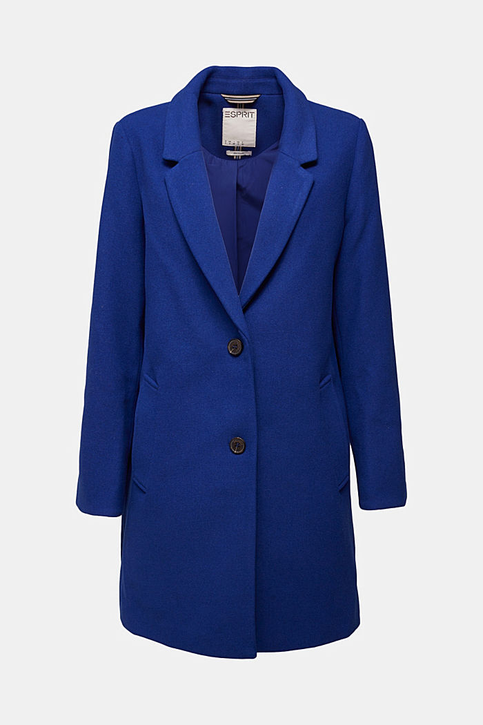 Recycled: blazer coat in a wool blend, BRIGHT BLUE, detail image number 5