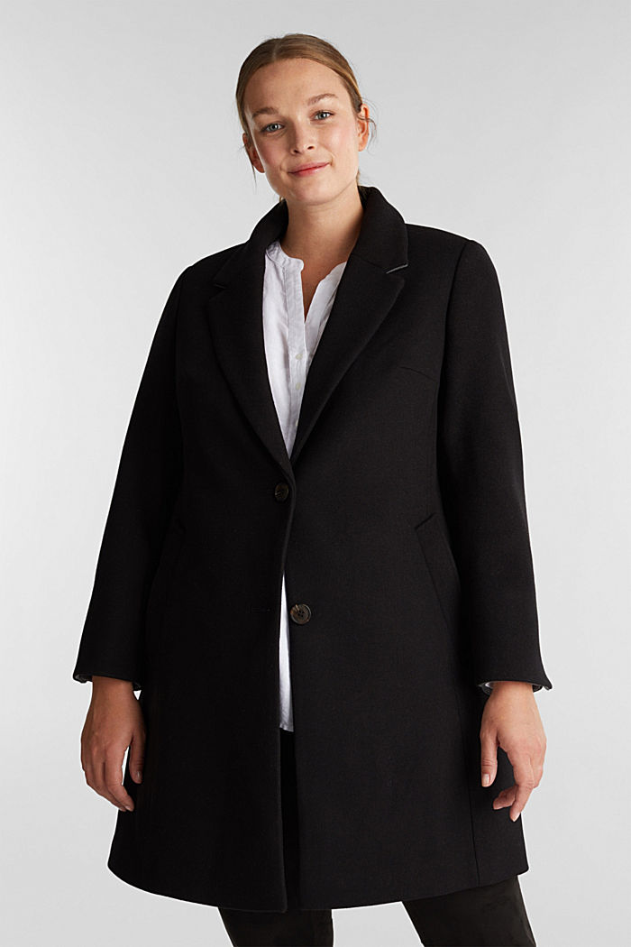 Curvy wool blend coat, recycled