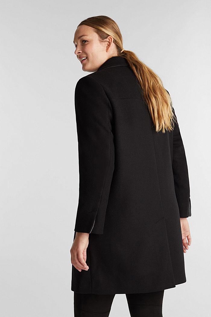 Curvy wool blend coat, recycled, BLACK, detail image number 3