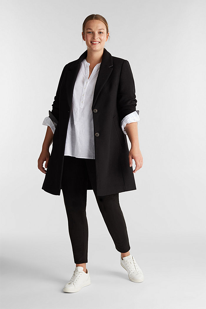 Curvy wool blend coat, recycled, BLACK, detail image number 1