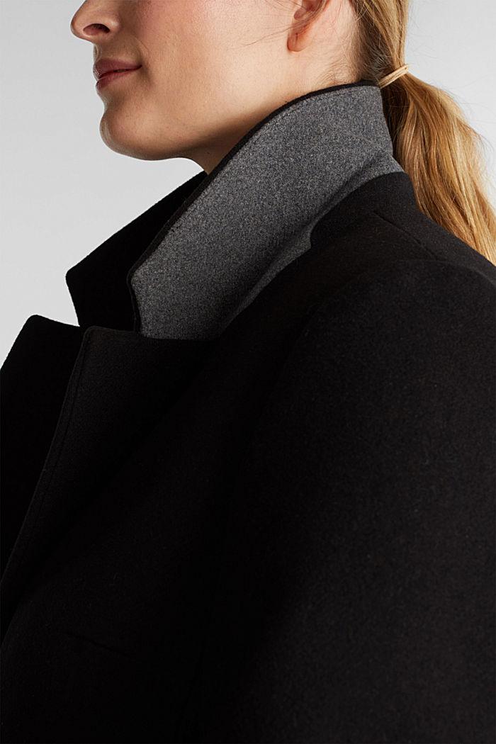 Curvy wool blend coat, recycled, BLACK, detail image number 2