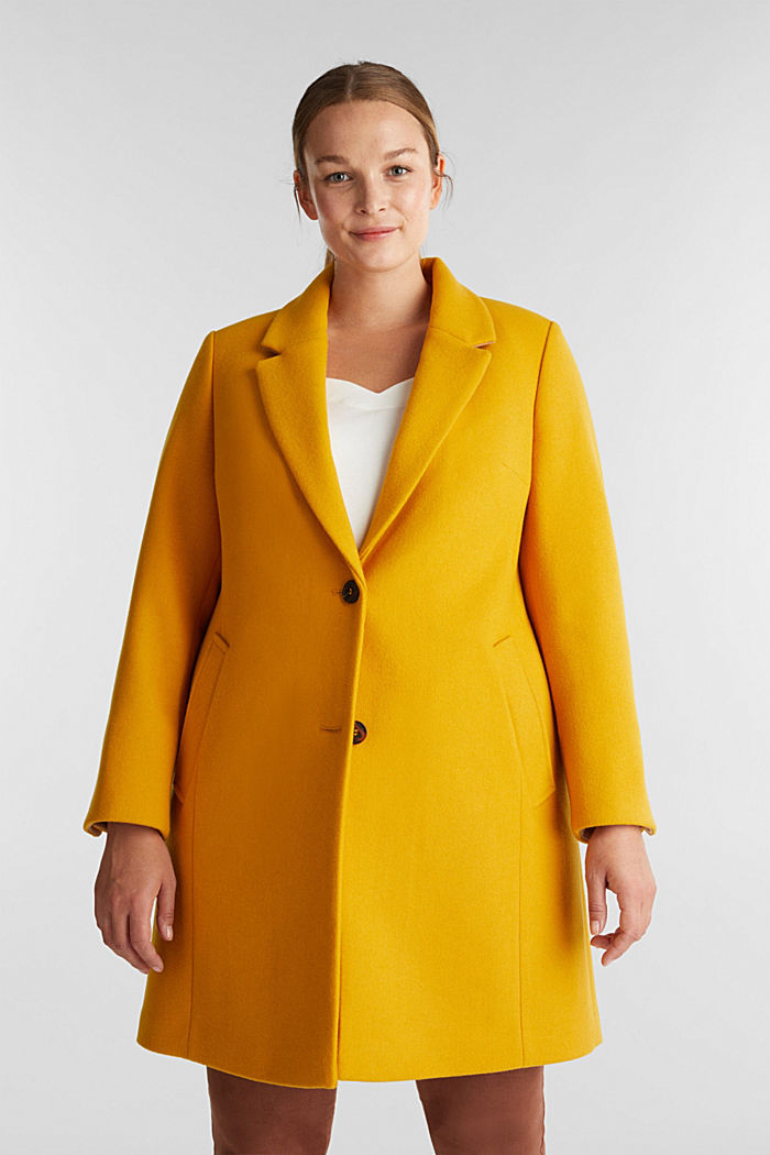 Curvy wool blend coat, recycled, BRASS YELLOW, detail image number 0