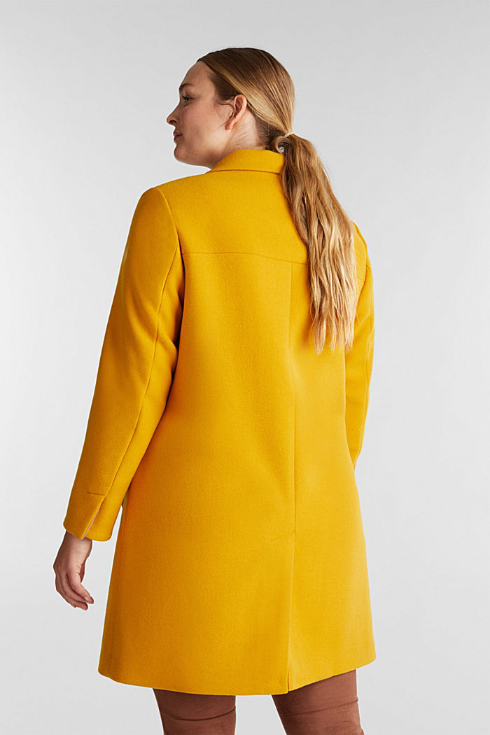 Curvy wool blend coat, recycled, BRASS YELLOW, detail image number 3