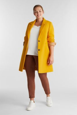 Curvy wool blend coat, recycled, BRASS YELLOW, detail