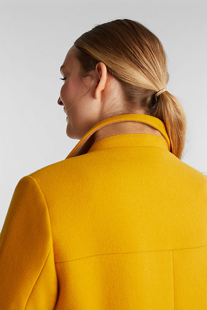 Curvy wool blend coat, recycled, BRASS YELLOW, detail image number 2