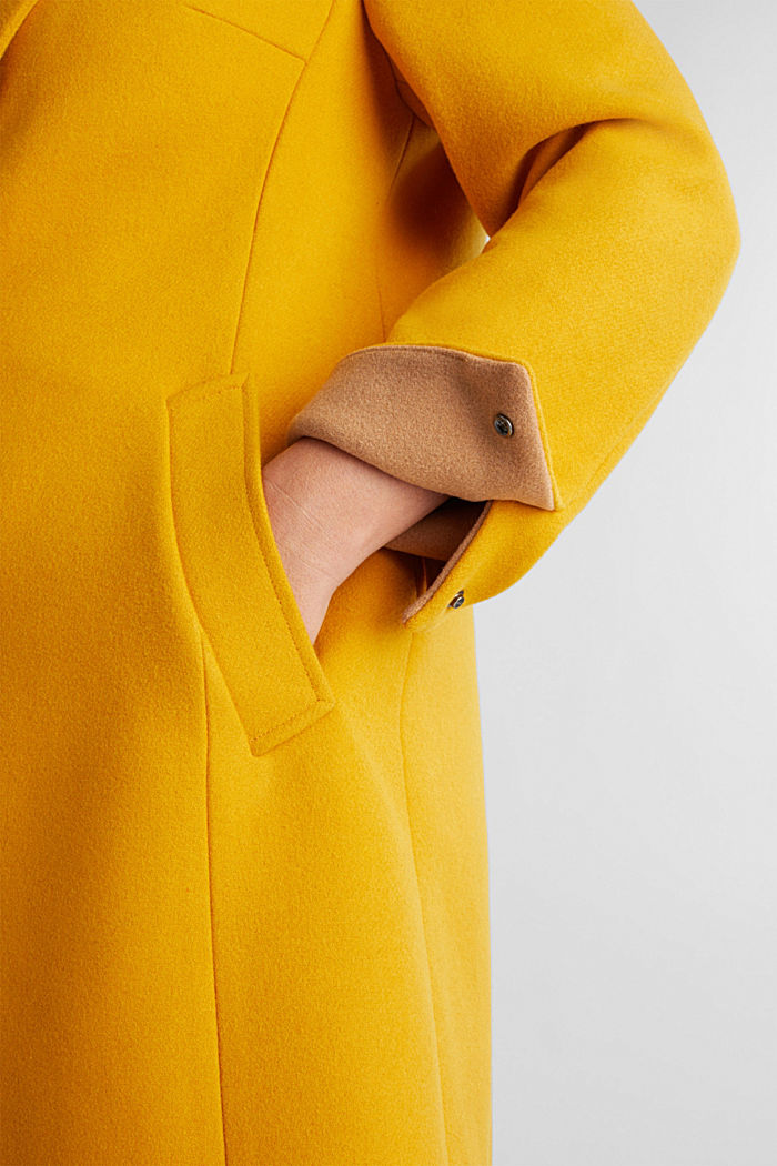 Curvy wool blend coat, recycled, BRASS YELLOW, detail image number 5