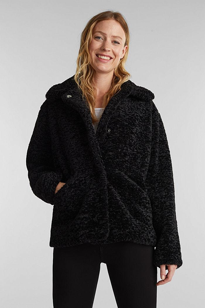 Faux fur jacket, BLACK, detail image number 0