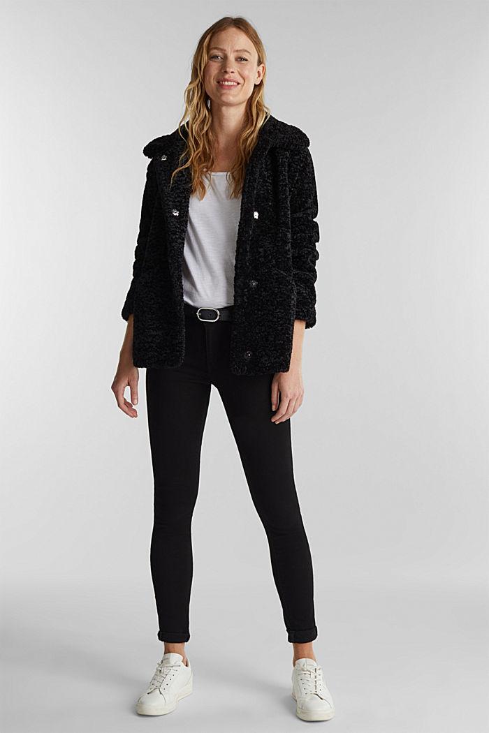 Faux fur jacket, BLACK, detail image number 1