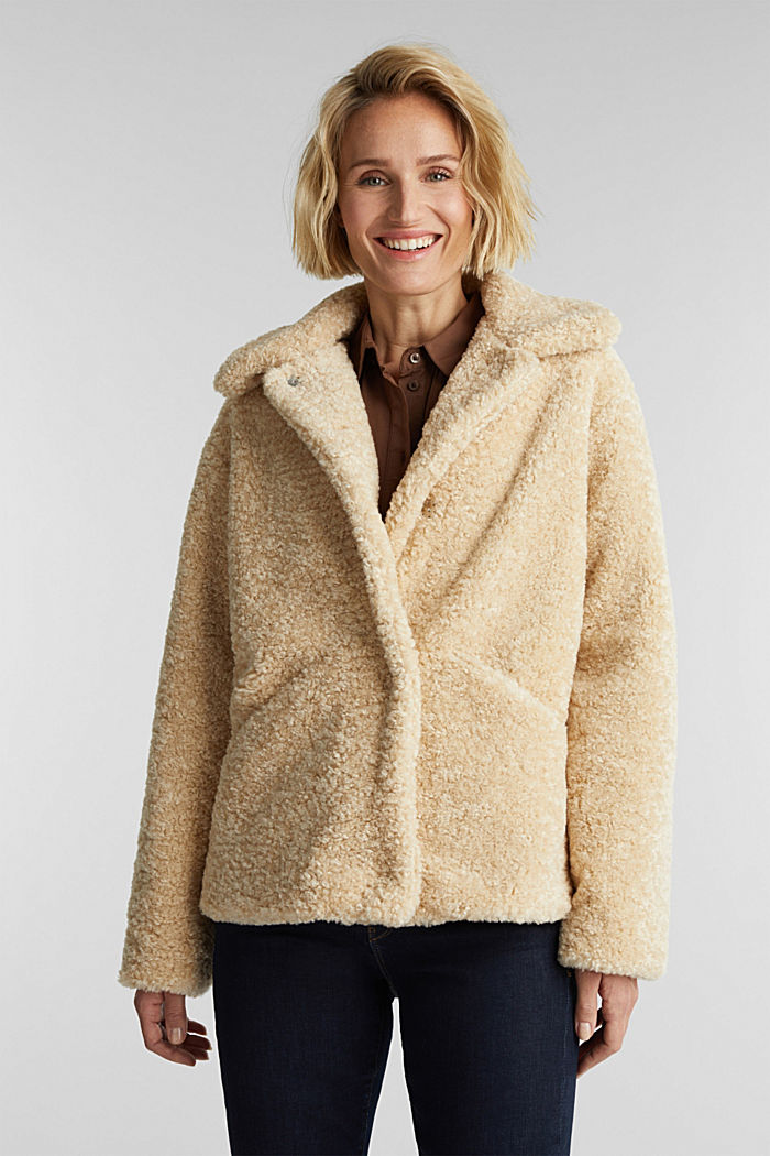 Jacke aus Fake Fur, CREAM BEIGE, detail image number 0