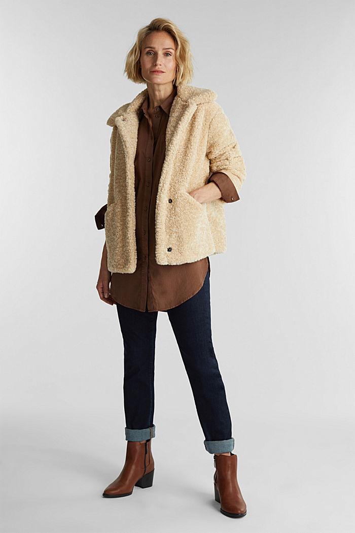 Jacke aus Fake Fur, CREAM BEIGE, detail image number 1
