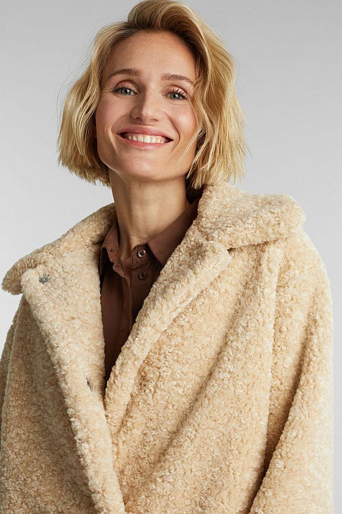 Jacke aus Fake Fur, CREAM BEIGE, detail image number 5