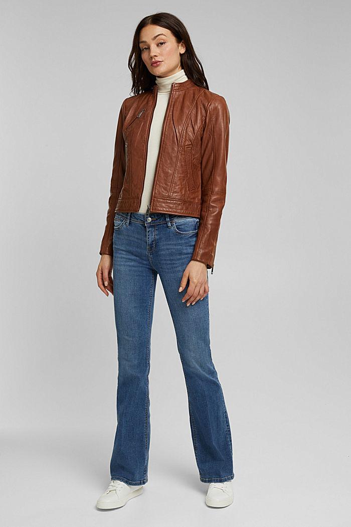 100% leather biker jacket, CAMEL, detail image number 1