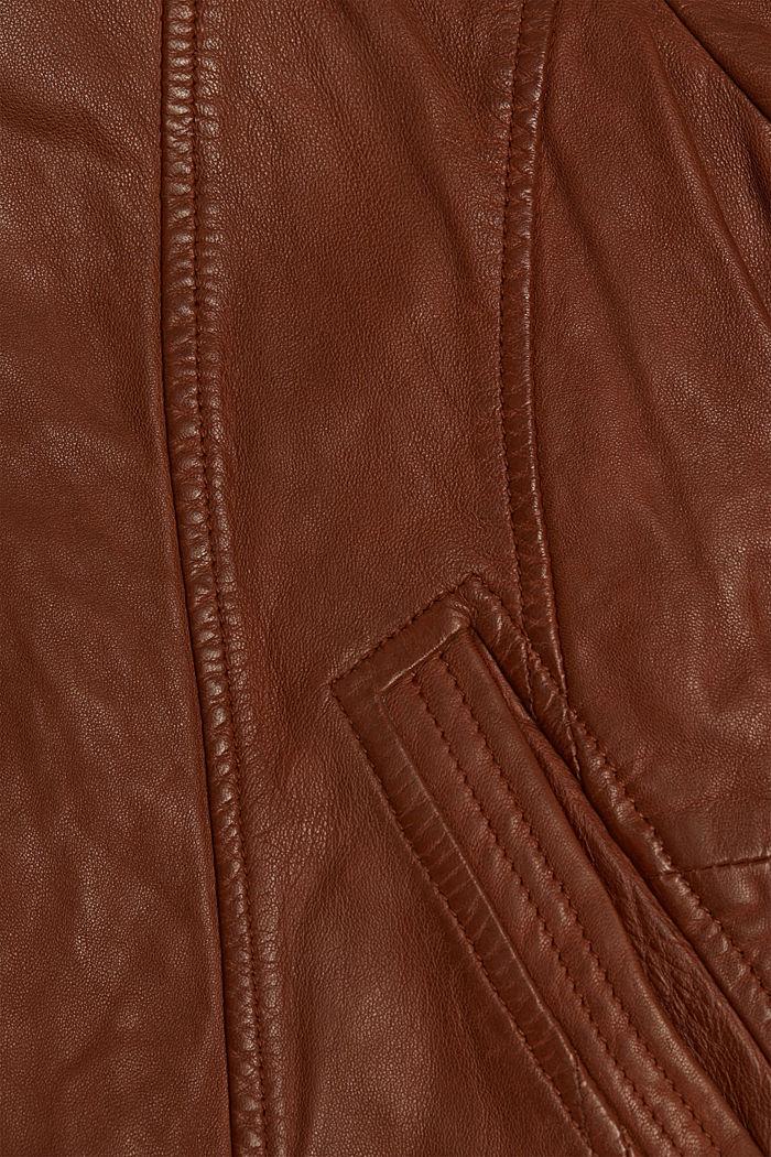 100% leather biker jacket, CAMEL, detail image number 4