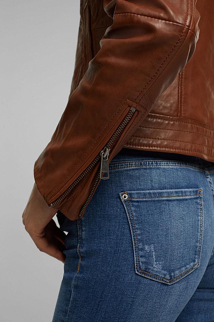 100% leather biker jacket, CAMEL, detail image number 5
