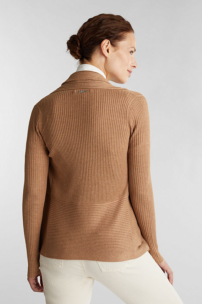 Recycled: mixed rib cardigan, CAMEL, detail image number 3