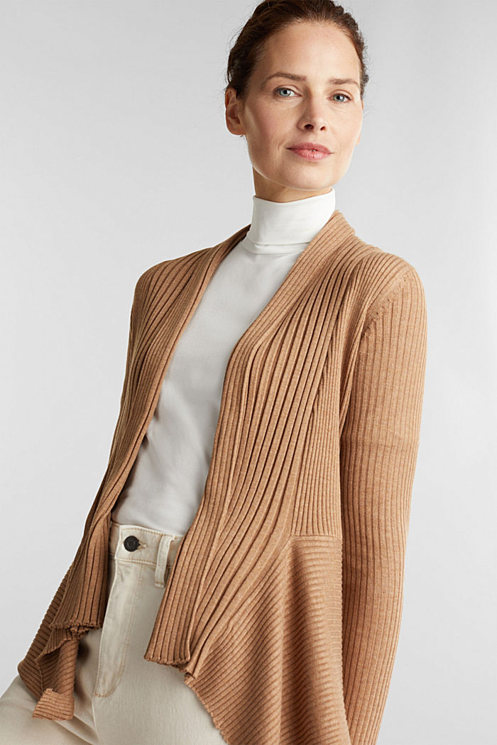 Recycled: mixed rib cardigan, CAMEL, detail image number 6