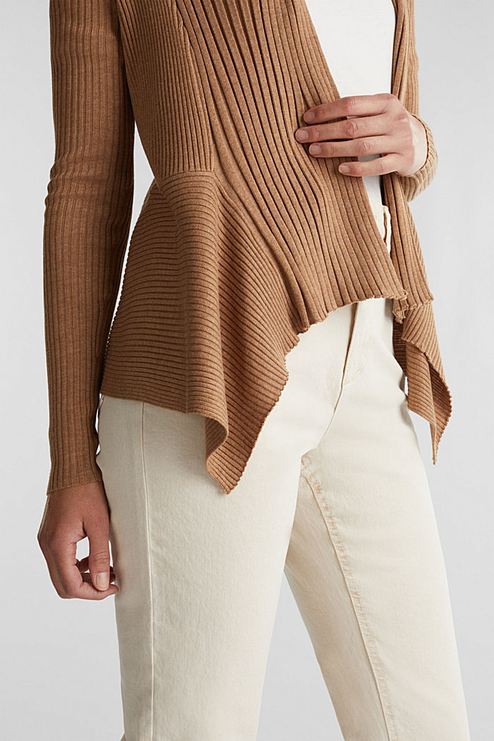 Recycled: mixed rib cardigan, CAMEL, detail image number 5