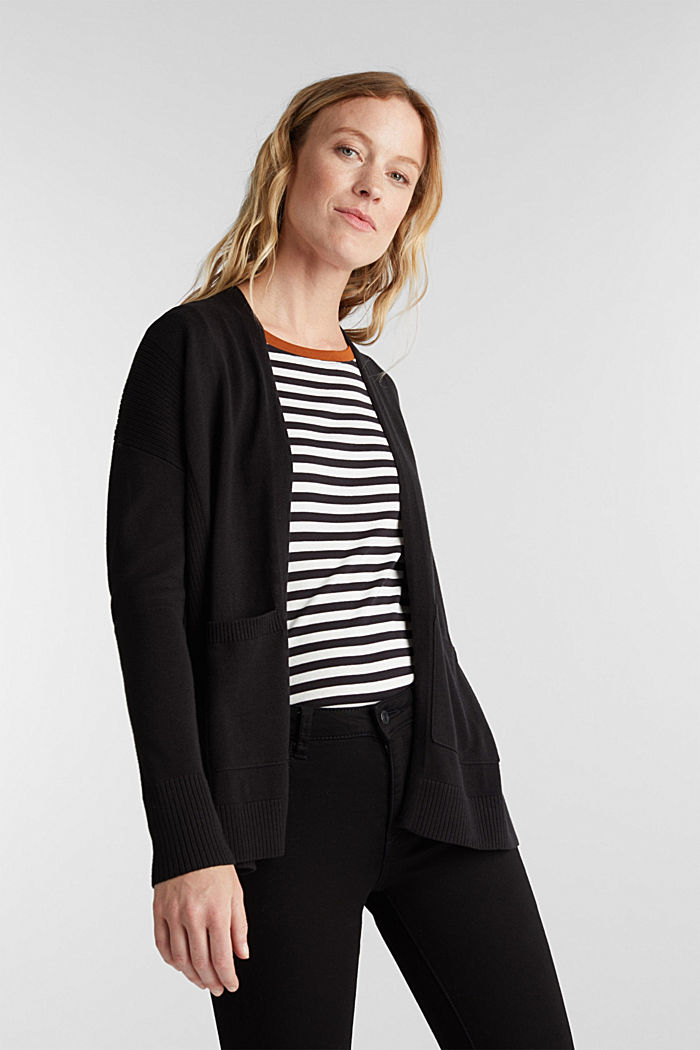 Open cardigan with organic cotton, BLACK, detail image number 0