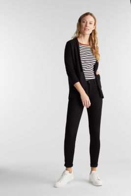 Open cardigan with organic cotton, BLACK, detail
