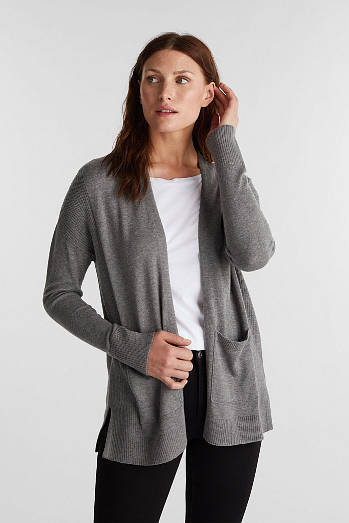 Open cardigan with organic cotton, GUNMETAL, overview