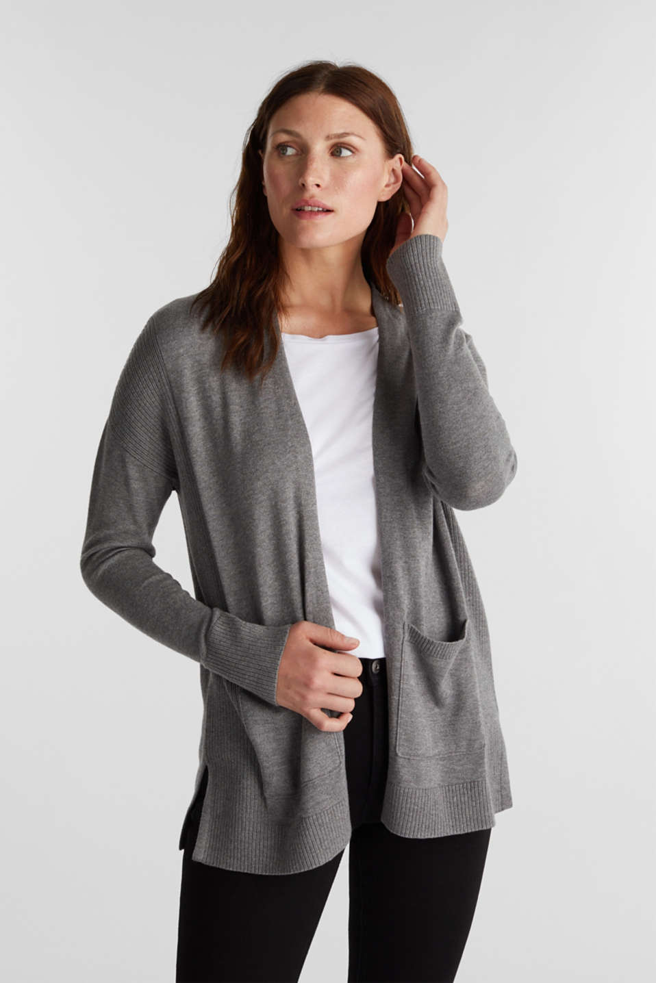 Esprit - Open vest met organic cotton