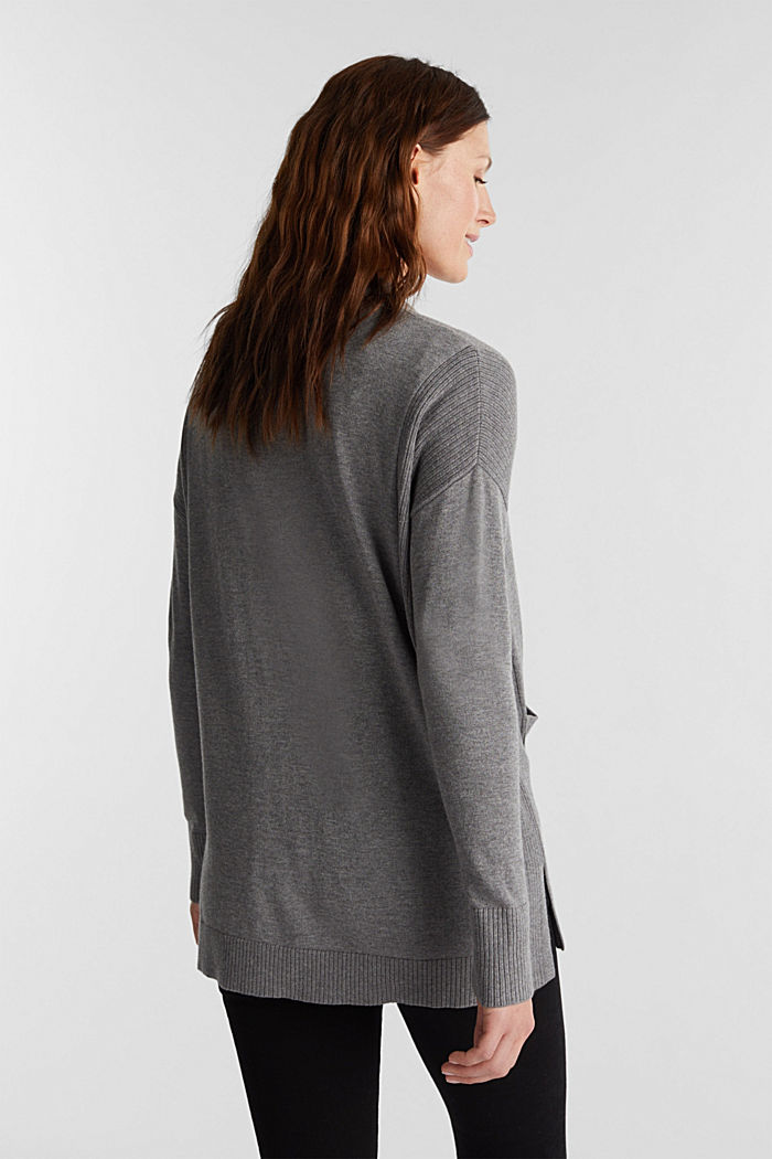 Open cardigan with organic cotton, GUNMETAL, detail image number 3
