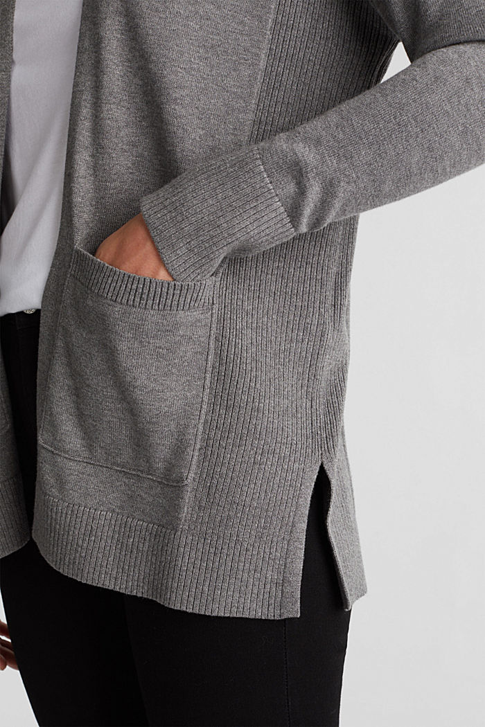 Open cardigan with organic cotton, GUNMETAL, detail image number 5