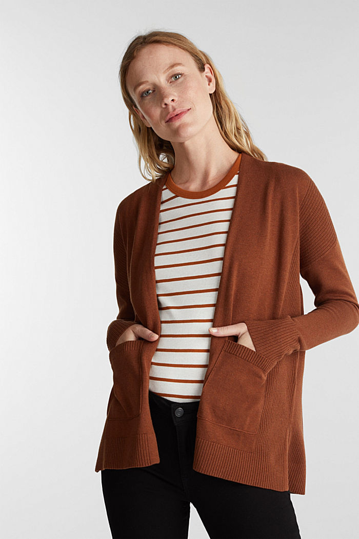 Open cardigan with organic cotton, TOFFEE, detail image number 0