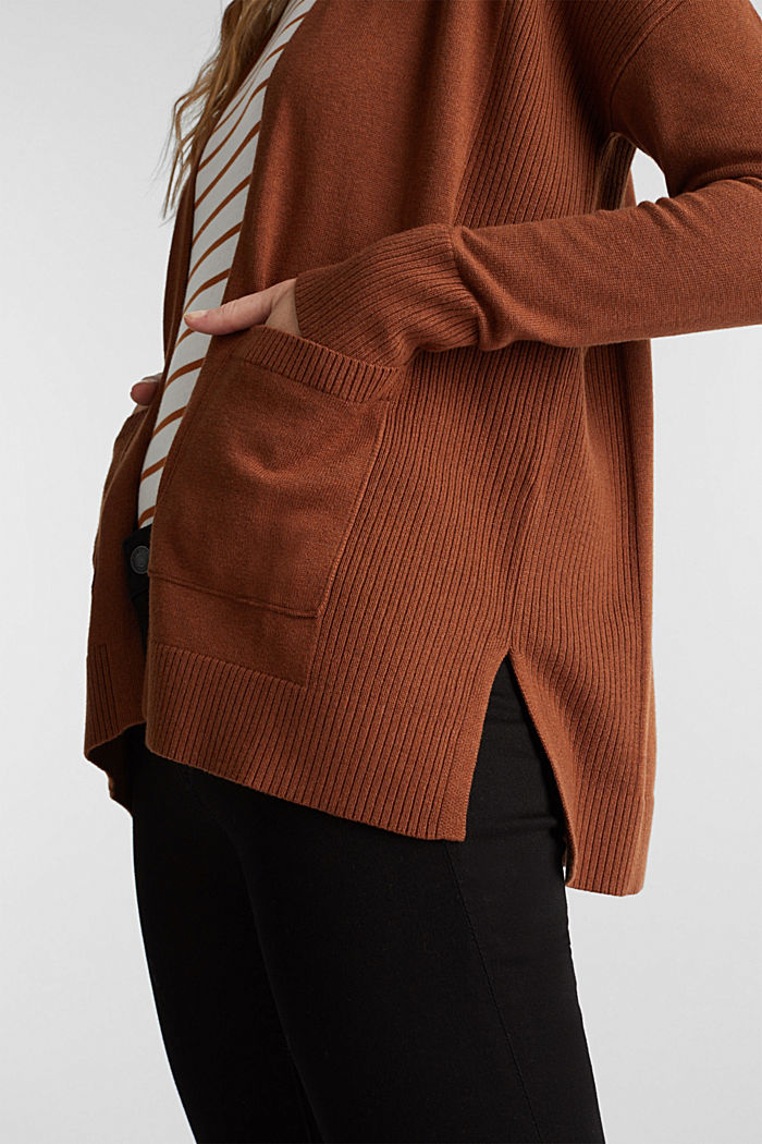 Open cardigan with organic cotton, TOFFEE, detail image number 2