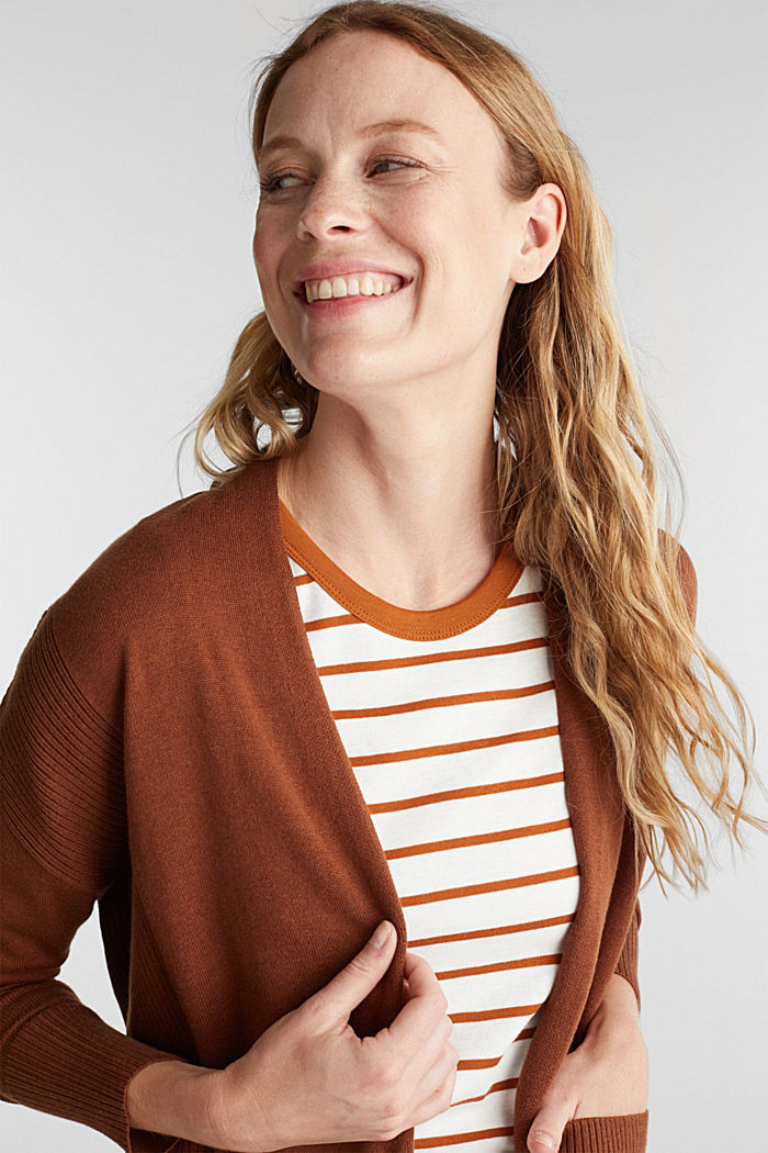 Open cardigan with organic cotton, TOFFEE, detail image number 6