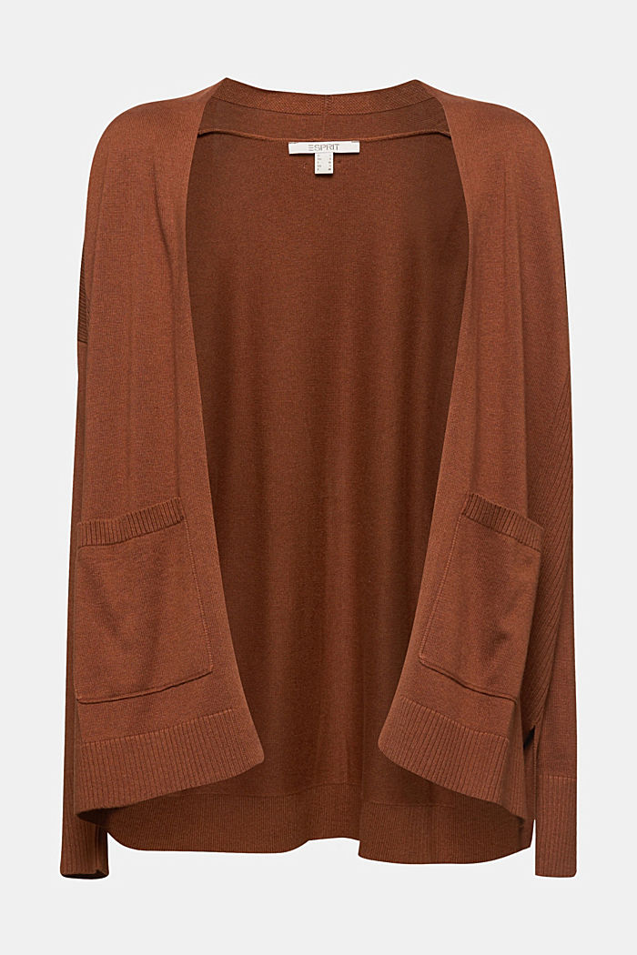 Open cardigan with organic cotton, TOFFEE, detail image number 7