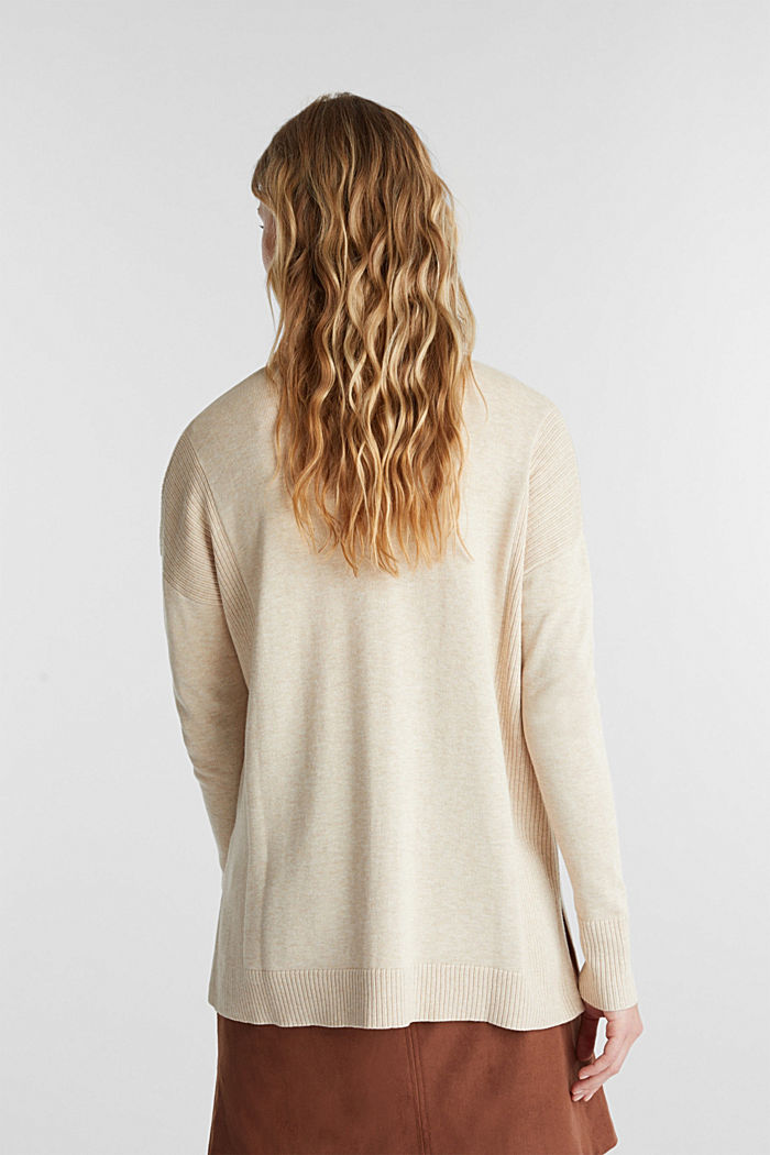 Open cardigan with organic cotton, SAND, detail image number 3
