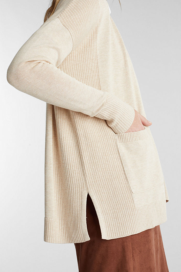 Open cardigan with organic cotton, SAND, detail image number 2