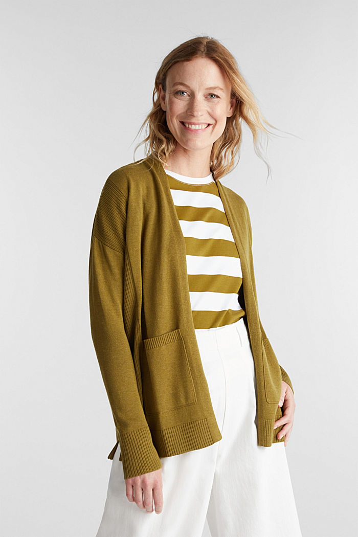 Open cardigan with organic cotton, OLIVE, detail image number 0