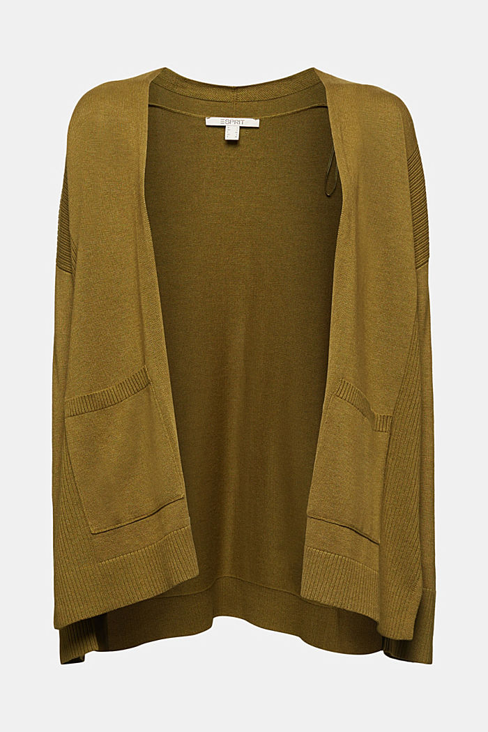 Open cardigan with organic cotton, OLIVE, detail image number 6