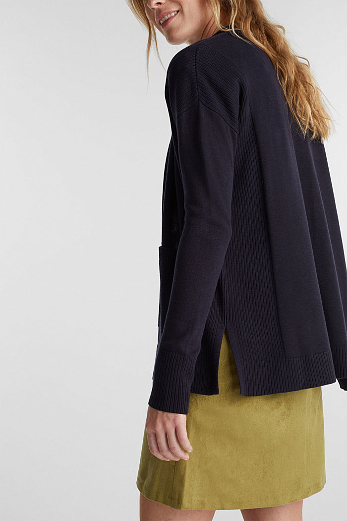 Open cardigan with organic cotton, NAVY, detail image number 5