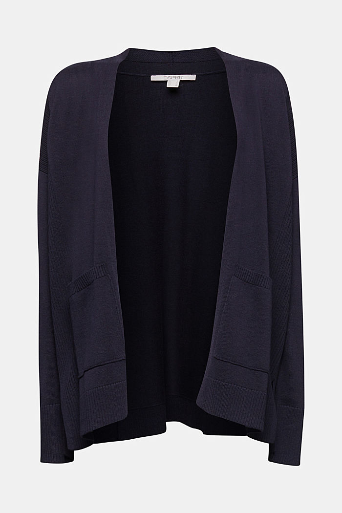 Open cardigan with organic cotton, NAVY, detail image number 6