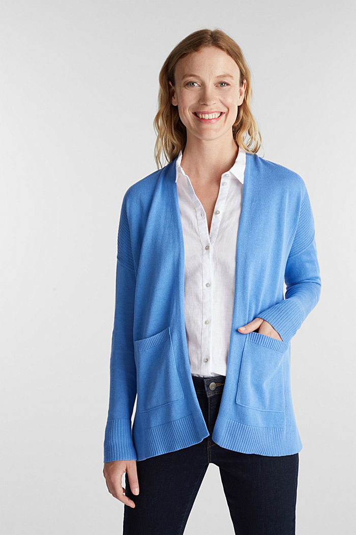 Open cardigan with organic cotton, LIGHT BLUE, detail image number 0