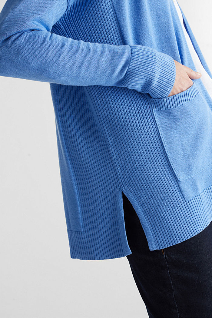 Open cardigan with organic cotton, LIGHT BLUE, detail image number 2