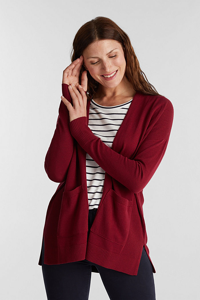 Open cardigan with organic cotton, BORDEAUX RED, detail image number 0
