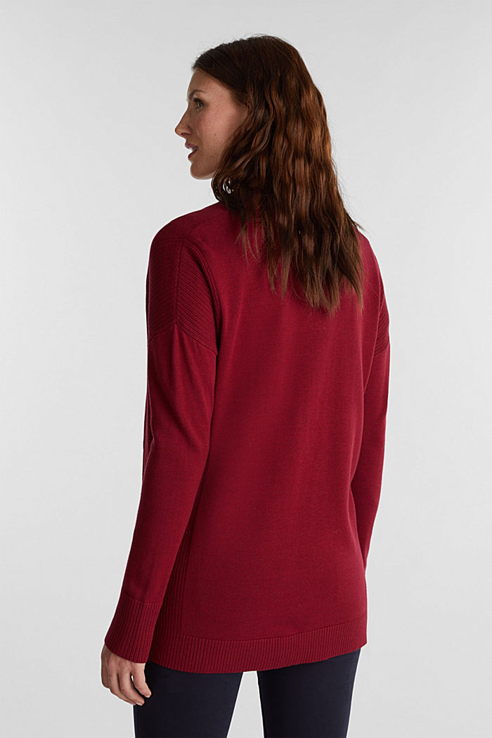 Open cardigan with organic cotton, BORDEAUX RED, detail image number 3