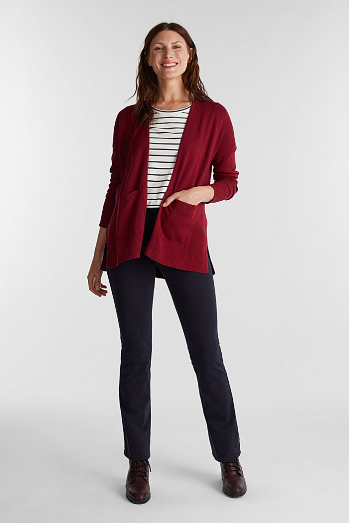 Open cardigan with organic cotton, BORDEAUX RED, detail image number 1