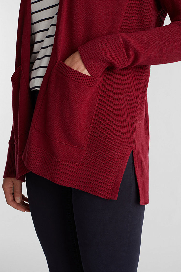 Open cardigan with organic cotton, BORDEAUX RED, detail image number 2
