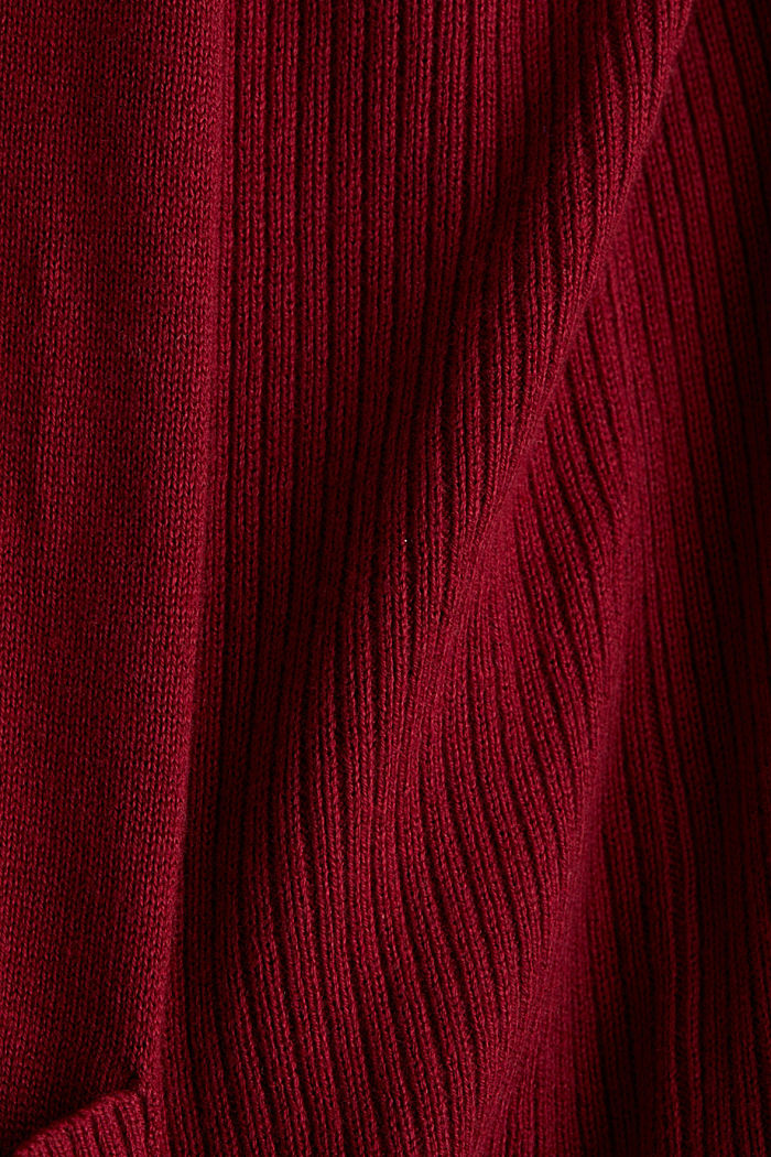 Open cardigan with organic cotton, BORDEAUX RED, detail image number 4