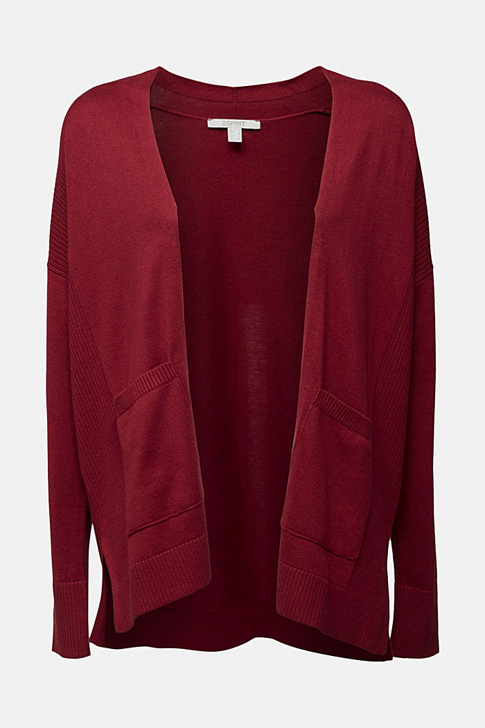 Open cardigan with organic cotton, BORDEAUX RED, detail image number 5