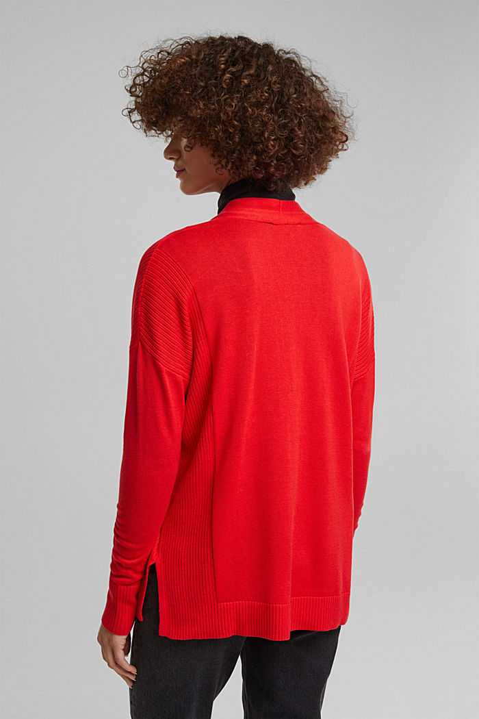Open cardigan with organic cotton, RED, detail image number 3