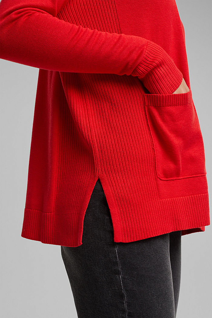 Open cardigan with organic cotton, RED, detail image number 2
