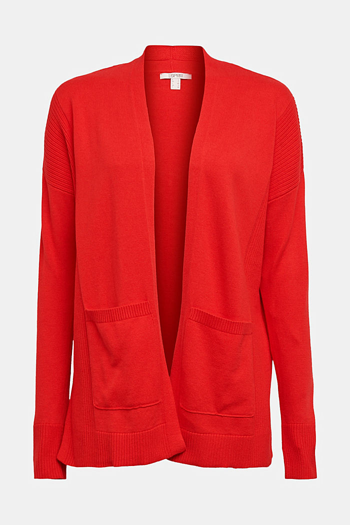 Open cardigan with organic cotton, RED, detail image number 6