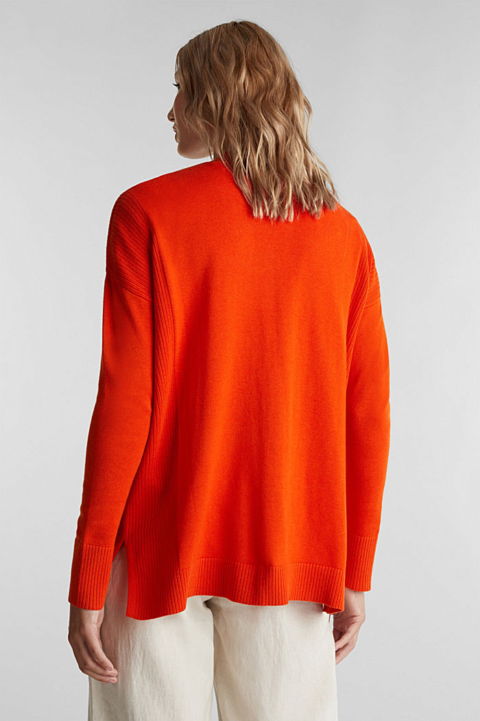 Open cardigan with organic cotton, RUST ORANGE, detail image number 3